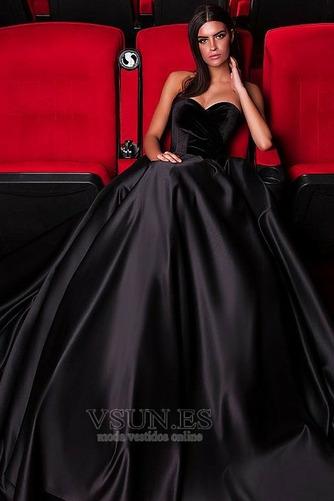 Vestido de fiesta Natural largo Cremallera Satén Corte-A Escote Corazón - Página 1