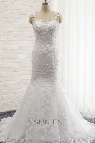 Vestido de novia Romántico Abalorio Espalda Descubierta Otoño Natural - Página 1