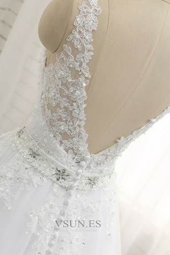 Vestido de novia Natural Escote en V Corte-A Falta Sin mangas largo - Página 5