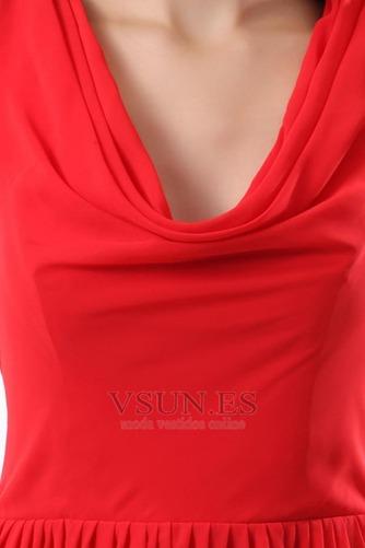 Vestido de dama de honor Volantes Adorno Escote en V Rojo Oscilación Hasta la Rodilla - Página 6