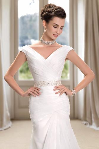 Vestido de novia Playa Cremallera Drapeado Pera Escote en V Corte Recto - Página 4