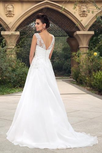 Vestido de novia largo Barco Elegante Blusa plisada Espalda Descubierta - Página 3