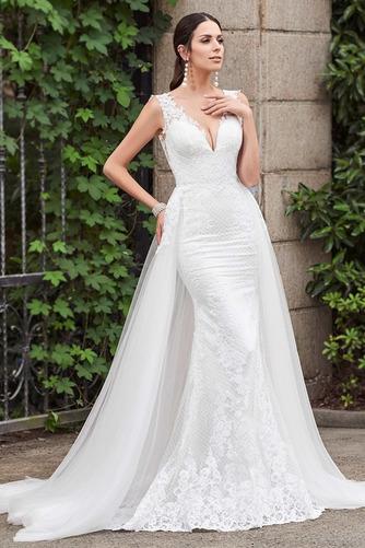 Vestido de novia Espalda Descubierta Drapeado sexy Sin mangas Corte Recto - Página 2