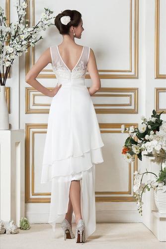 Vestido de novia Asimétrico Dobladillo Apliques Sin mangas Otoño Natural - Página 3