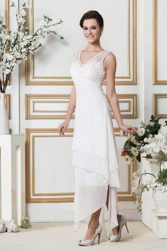 Vestido de novia Asimétrico Dobladillo Apliques Sin mangas Otoño Natural - Página 2