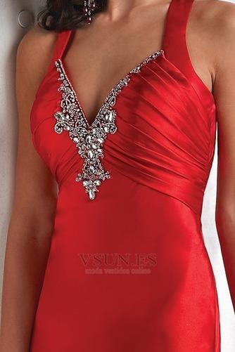 Vestido de fiesta Rojo Oscuro Criss Cross Blusa plisada Falta Espalda Descubierta - Página 3