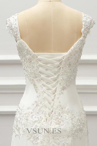 Vestido de novia Gasa Cordón Capa de encaje Natural Escote Cuadrado - Página 6
