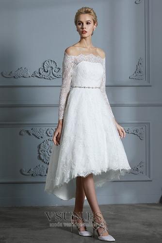 Vestido de novia Botón Moderno Pera Manga larga Asimétrico Dobladillo - Página 4