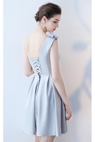Vestido de dama de honor Cordón primavera Satén Un sólo hombro Sin mangas Bordado - Página 10