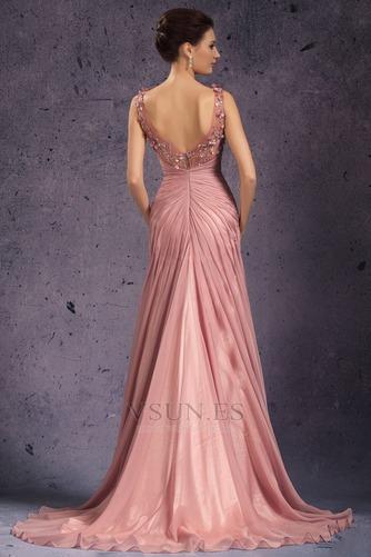 Vestido de noche Rosa Perla Cola Barriba Imperio Rosetón Acentuado Blusa plisada - Página 6