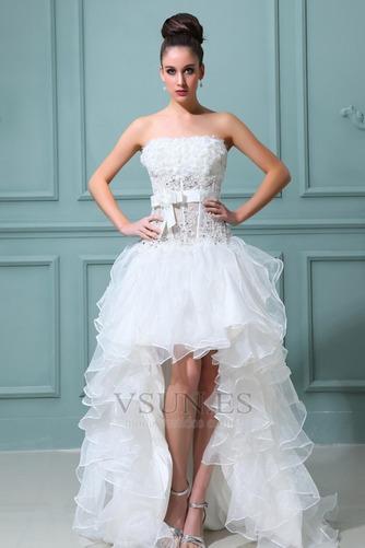 Vestido de novia Sin tirantes Manzana Asimétrico Dobladillo Cintura Baja - Página 1
