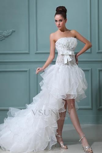 Vestido de novia Sin tirantes Manzana Asimétrico Dobladillo Cintura Baja - Página 2