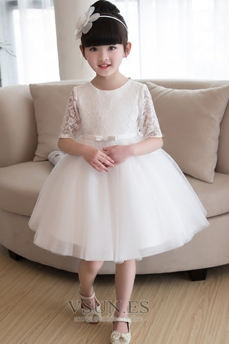 Vestido niña ceremonia Natural Apliques Falta Corte-A Satén La mitad de manga - Página 1