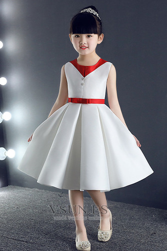 Vestido niña ceremonia Corte-A Natural Botón Otoño Hasta la Rodilla Cremallera - Página 2