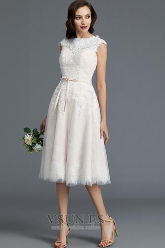 Vestido de novia Encaje Cremallera Verano Glamouroso Natural Falta - Página 3