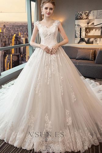 Vestido de novia Espalda Descubierta Cola Real Corte-A Capa de encaje - Página 1