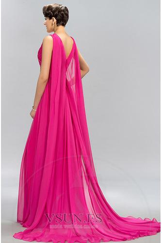 Vestido de noche Escote en V Blusa plisada Natural largo Formal Gasa - Página 2
