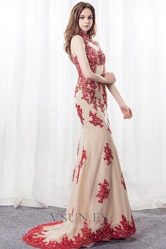 Vestido de noche Corte Sirena primavera Apliques Pera Escote con cuello Alto - Página 4