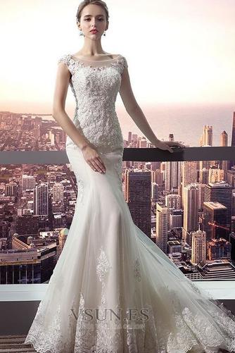 Vestido de novia Corte Sirena Capa de encaje largo Escote con Hombros caídos - Página 1