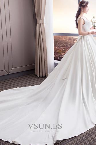Vestido de novia Cola Real Drapeado Satén Iglesia Cordón Triángulo Invertido - Página 4