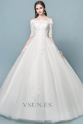 Vestido de novia Elegante Mangas Illusion Falta Capa de encaje Cordón - Página 1