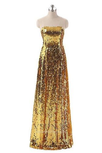 Vestido de fiesta Con lentejuelas Corte-A Natural Hasta el suelo Sin mangas - Página 1