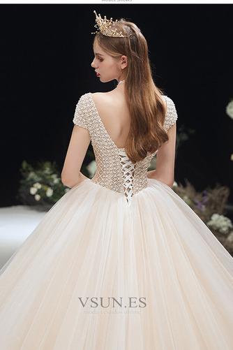 Vestido de novia Formal Cordón Corte-A Escote en V Capa Multi Cola Capilla - Página 4