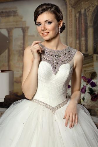 Vestido de novia Sin mangas Sala Joya Otoño Cintura Baja Cinturón de cuentas - Página 3