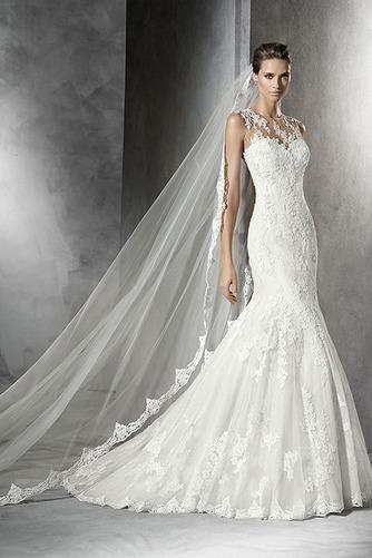 Vestido de novia Corte Sirena Apliques Encaje Otoño Cremallera Joya - Página 1