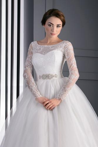 Vestido de novia Manga larga Iglesia Mangas Illusion Cristal tul Corte princesa - Página 3