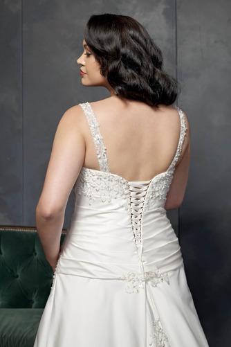 Vestido de novia Corte-A Cola Catedral Satén Sala primavera Escote en V - Página 4