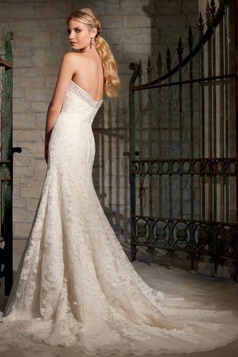 Vestido de novia Corte Sirena Natural Sin mangas Botón largo Escote Corazón - Página 2