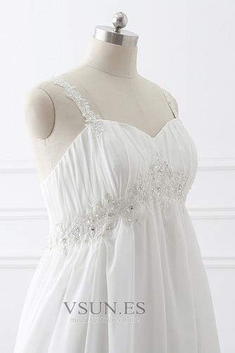Vestido de novia Imperio largo Fuera de casa Sin mangas Escote de Tirantes Espaguetis - Página 5