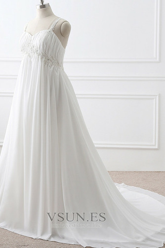 Vestido de novia Imperio largo Fuera de casa Sin mangas Escote de Tirantes Espaguetis - Página 2