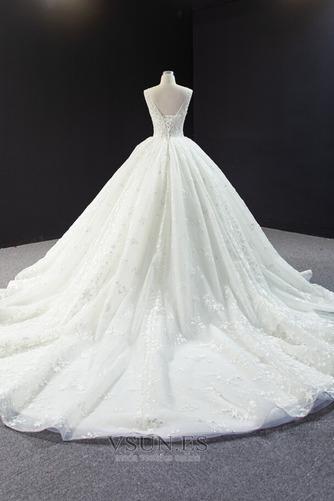 Vestido de novia Iglesia Drapeado Natural Cola Corte Corte-A Barco - Página 5