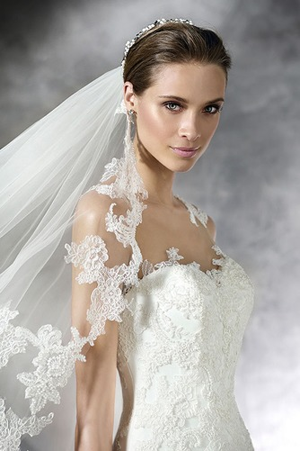 Vestido de novia Con velo Moderno Apliques Natural Corte Recto Gasa - Página 3