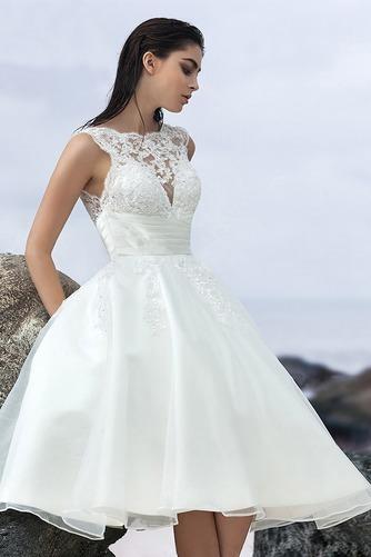 Vestido de novia Sin mangas Corte-A Natural Organza Volantes Adorno - Página 1