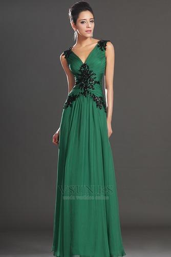 Vestidos de noche verde esmeralda Sin mangas Hasta el suelo Baja Escote en V - Página 4