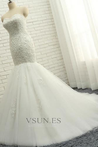 Vestido de novia Elegante Capa de encaje Apliques Sin mangas Corte Sirena - Página 3