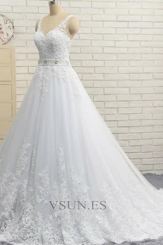 Vestido de novia Natural Escote en V Corte-A Falta Sin mangas largo - Página 3
