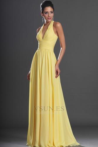 Vestido de noche primavera Espalda medio descubierto sexy Amarillo claro - Página 5
