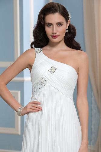 Vestido de novia Rectángulo Imperio Un sólo hombro Blusa plisada Imperio Cintura - Página 4