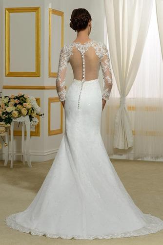 Vestido de novia Invierno Sin mangas Pura espalda Natural Capa de encaje - Página 3