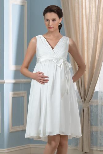 Vestido de novia Arco Acentuado Verano Gasa Drapeado Blusa plisada Hasta la Rodilla - Página 1