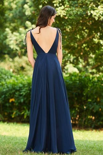 Vestido de dama de honor largo Invierno Sencillo Gasa Drapeado Blusa plisada - Página 3
