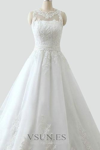 Vestido de novia Alto cubierto Joya Corte-A Cinturón de cuentas Apliques - Página 4