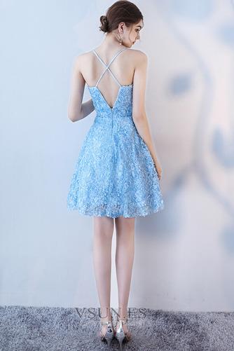Vestido de cóctel Corte-A Apliques Glamouroso Encaje Escote de Tirantes Espaguetis - Página 3