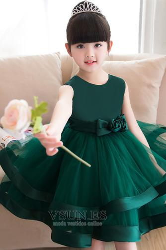 Vestido niña ceremonia Arco Acentuado Falta Cremallera Flores Natural Satén - Página 4