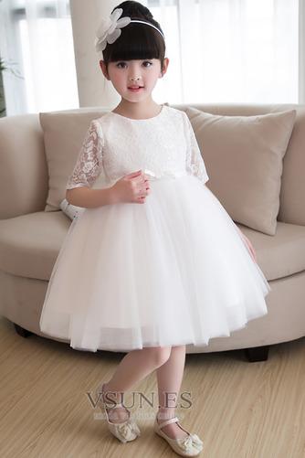 Vestido niña ceremonia Natural Apliques Falta Corte-A Satén La mitad de manga - Página 3