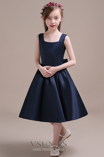 Vestido niña ceremonia Corte-A Lazos Arco Acentuado Satén Formal primavera - Página 1
